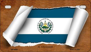 El Salvador Flag Scroll Wholesale Novelty Motorcycle Plate MP-9065