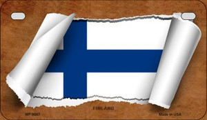 Finland Flag Scroll Wholesale Novelty Motorcycle Plate MP-9067