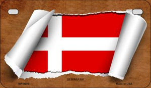 Denmark Flag Scroll Wholesale Novelty Motorcycle Plate MP-9070