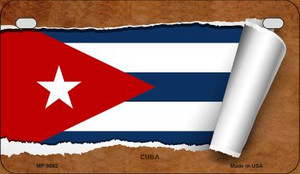 Cuba Flag Scroll Wholesale Novelty Motorcycle Plate MP-9082