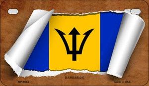 Barbados Flag Scroll Wholesale Novelty Motorcycle Plate MP-9094