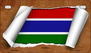 Gambia Flag Scroll Wholesale Novelty Motorcycle Plate MP-9106