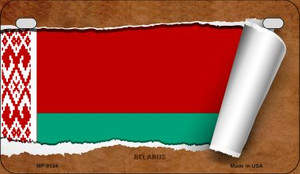 Belarus Flag Scroll Wholesale Novelty Motorcycle Plate MP-9134