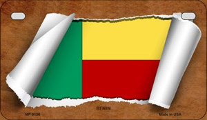 Benin Flag Scroll Wholesale Novelty Motorcycle Plate MP-9136