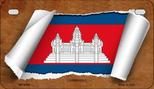 Cambodia Flag Scroll Wholesale Novelty Motorcycle Plate MP-9148