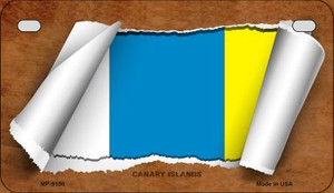 Canary Islands Flag Scroll Wholesale Novelty Motorcycle Plate MP-9150