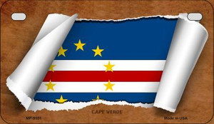Cape Verde Flag Scroll Wholesale Novelty Motorcycle Plate MP-9151
