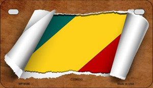 Congo Flag Scroll Wholesale Novelty Motorcycle Plate MP-9158