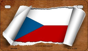 Czech Republic Flag Scroll Wholesale Novelty Motorcycle Plate MP-9159