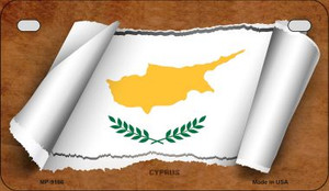 Cyprus Flag Scroll Wholesale Novelty Motorcycle Plate MP-9166