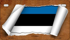 Estonia Flag Scroll Wholesale Novelty Motorcycle Plate MP-9173