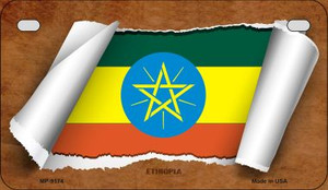 Ethiopia Flag Scroll Wholesale Novelty Motorcycle Plate MP-9174