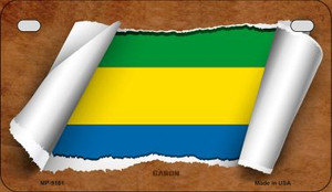 Gabon Flag Scroll Wholesale Novelty Motorcycle Plate MP-9181