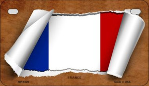 France Flag Scroll Wholesale Novelty Motorcycle Plate MP-9329