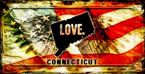 Connecticut Love & Wings Wholesale Novelty Bicycle Plate BP-8593
