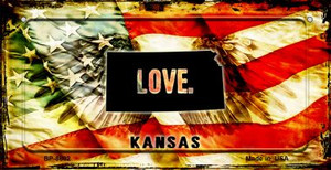 Kansas Love & Wings Wholesale Novelty Bicycle Plate BP-8602