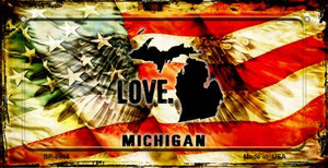Michigan Love & Wings Wholesale Novelty Bicycle Plate BP-8608