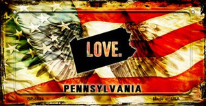 Pennsylvania Love & Wings Wholesale Novelty Bicycle Plate BP-8624