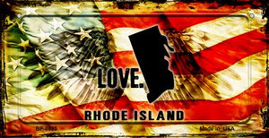 Rhode Island Love & Wings Wholesale Novelty Bicycle Plate BP-8625