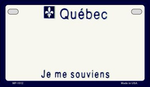Quebec Blank Background Wholesale Novelty Motorcycle Plate MP-1512