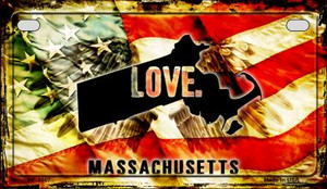 Massachusetts Love & Wings Wholesale Novelty Motorcycle Plate MP-8607