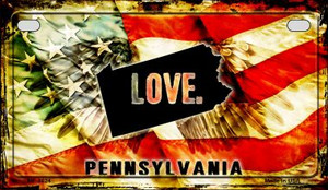 Pennsylvania Love & Wings Wholesale Novelty Motorcycle Plate MP-8624