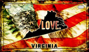 Virginia Love & Wings Wholesale Novelty Motorcycle Plate MP-8632