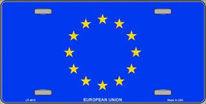 European Union Flag Wholesale Metal Novelty License Plate LP-4012