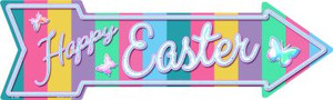 Happy Easter with Butterflies Wholesale Novelty Metal Arrow Sign A-398