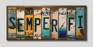Semper Fi Wholesale Novelty License Plate Strips Wood Sign WS-014