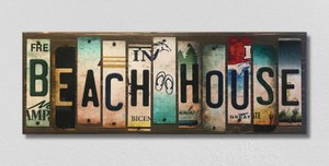 Beach House Wholesale Novelty License Plate Strips Wood Sign WS-017