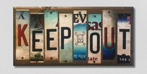 Keep Out Wholesale Novelty License Plate Strips Wood Sign WS-018