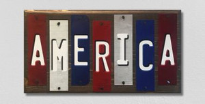 America Wholesale Novelty Colored Strips Wood Sign