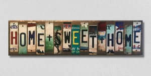 Home Sweet Home Wholesale Novelty License Plate Strips Wood Sign WS-021