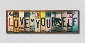 Love Yourself Wholesale Novelty License Plate Strips Wood Sign