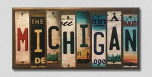 Michigan Wholesale Novelty License Plate Strips Wood Sign WS-028