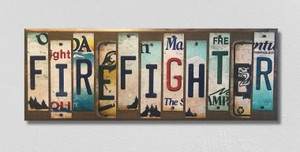 Firefighter Wholesale Novelty License Plate Strips Wood Sign