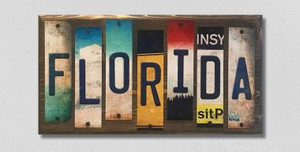 Florida Wholesale Novelty License Plate Strips Wood Sign