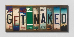 Get Naked Wholesale Novelty License Plate Strips Wood Sign WS-040