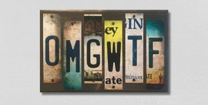 OMGWTF Wholesale Novelty License Plate Strips Wood Sign