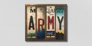 Army Wholesale Novelty License Plate Strips Wood Sign WS-072