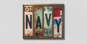Navy Wholesale Novelty License Plate Strips Wood Sign