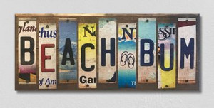 Beach Bum Wholesale Novelty License Plate Strips Wood Sign