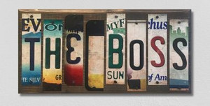 The Boss Wholesale Novelty License Plate Strips Wood Sign