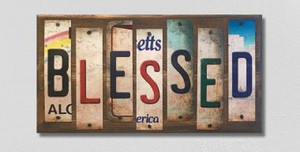 Blessed Wholesale Novelty License Plate Strips Wood Sign WS-091
