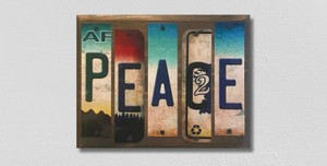 Peace Wholesale Novelty License Plate Strips Wood Sign