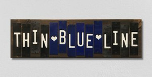 Thin Blue Line Wholesale Novelty Colored Strips Wood Sign WS-120