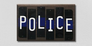 Police Thin Blue Line Wholesale Novelty Colored Strips Wood Sign