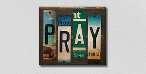 Pray Wholesale Novelty License Plate Strips Wood Sign