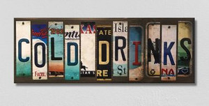 Cold Drinks Wholesale Novelty License Plate Strips Wood Sign